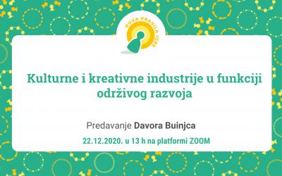 """Davor Buinjac: """"Kulturne i kreativne industrije u funkciji održivog razvoja"""", predavanje"""