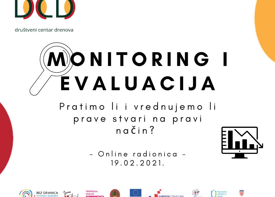 POZIV NA RADIONICU: Monitoring i evaluacija – Pratimo li i vrednujemo li prave stvari na pravi način?